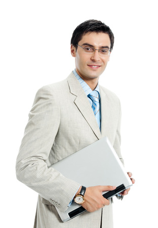 notebook computer: Young happy smiling businessman with laptop, isolated on white background. Business success concept.