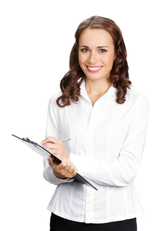 whitebackground: Happy smiling young businesswoman with clipboard writing, isolated on white background. Caucasian female model in business success concept studio shot.