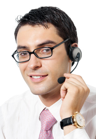 Portrait of happy smiling cheerful support phone operator in headset, isolated on white background. Consulting and assistance service call center. Stock Photo