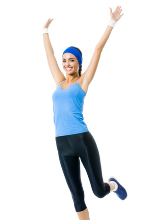 Full body of young happy smiling woman doing fitness exercise, isolated on white background