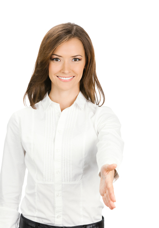 Businesswoman giving hand for handshake, isolated on white background. Success in business, job and education concept studio shot. Stock Photo