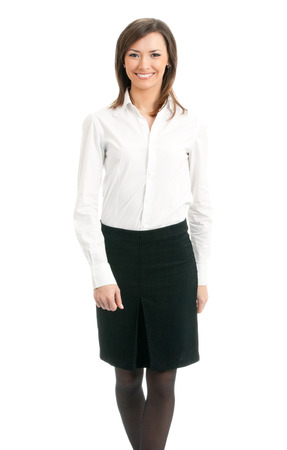 Full body portrait of walking business woman, isolated on white background. Success in business concept.