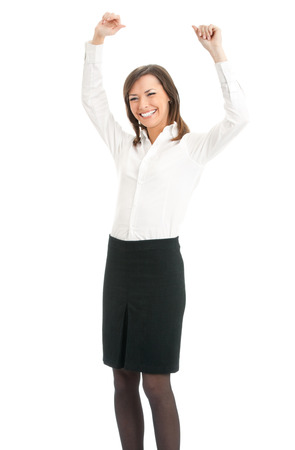 employe: Happy gesturing young cheerful smiling business woman , isolated on white background. Success in business concept.