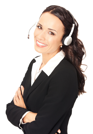 Portrait of happy smiling cheerful customer support phone operator in headset, isolated on white background. Call center, consulting and client service concept.