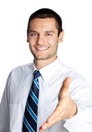 give out: Portrait of happy smiling businessman giving hand for handshake, isolated on white background. Success in business, job and education concept shot.