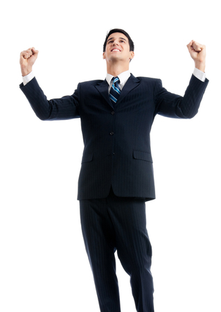 Very happy successful gesturing young businessman, isolated over white background. Success in business and education concept.