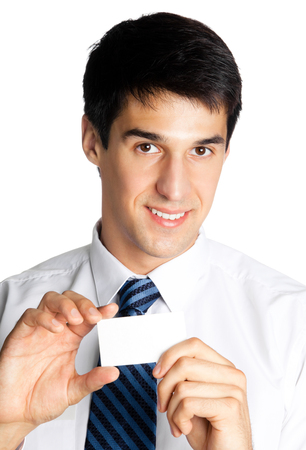 businesscard: Portrait of smiling businessman giving blank businesscard, isolated on white background. Success in business concept.