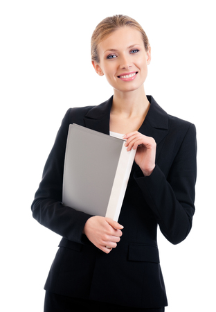 Portrait of happy smiling business woman with grey folder, isolated on white background
