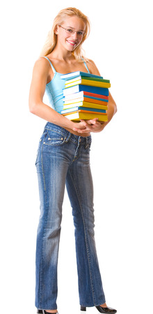 Young happy smiling woman with textbooks, isolated over white background. Education concept studio shoot. photo