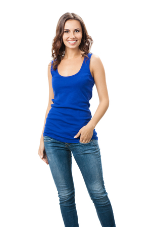 Full body of young cheerful smiling woman, isolated over white background. Brunette beautiful female model in studio shot. photo