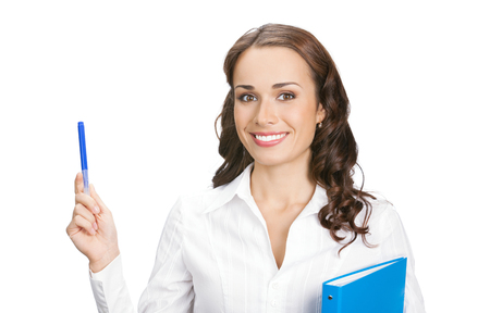 Happy smiling young beautiful businesswoman showing something or blank area for sign or advertisiment copyspase, with blue folder, isolated on white background. Success in business, marketing, pr and advertising concept. photo