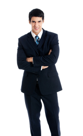 Full body portrait of young happy smiling cheerful businessman, over white background. Success in business and education concept. photo