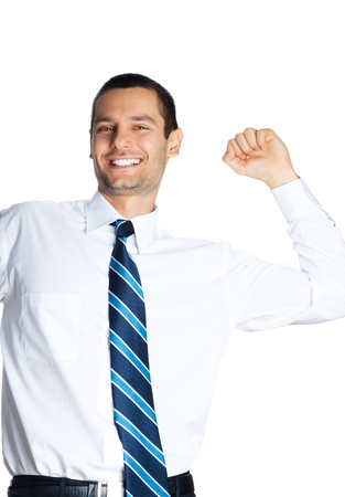 Happy gesturing young smiling businessman, isolated on white background. Success in business, job and education concept shot. photo