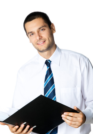 Portrait of happy smiling businessman with black folder, isolated on white background. Success in business, job and education concept shot. photo