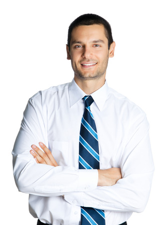 Portrait of happy smiling businessman with crossed arms, isolated on white background. Success in business, job and education concept shot. photo