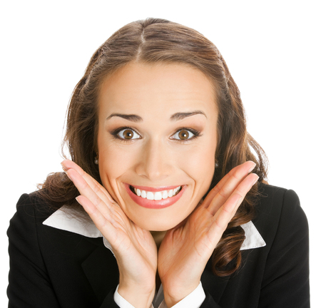 Portrait of young happy surprised businesswoman, isolated over white background. Success in business concept. photo