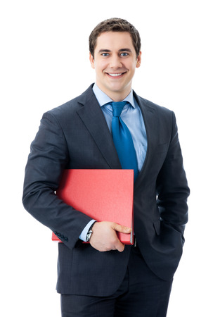 Portrait of happy smiling business man with red folder, isolated over white background photo