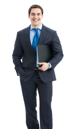 Full body portrait of happy smiling business man with black folder, isolated over white background photo