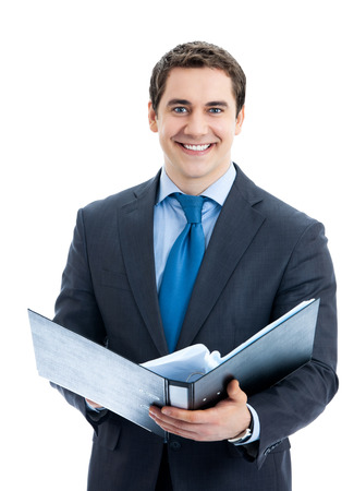 Portrait of happy smiling business man with black folder, isolated over white background photo