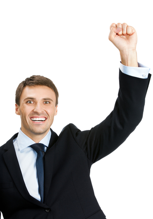 alright: Very happy successful gesturing cheerful young business man, isolated over white background. Success in business, job and education concept shot.
