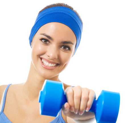 afroamerican: Cheerful woman in fitness wear exercising with dumbbell, isolated over white background Stock Photo