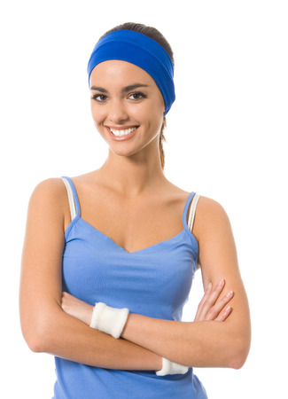 afroamerican: Young cheerful woman in fitness wear, isolated over white background