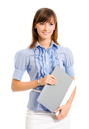 Portrait of young happy smiling businesswoman with folder, isolated on white background