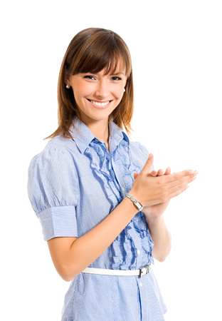 Portrait of young happy clapping business woman, isolated on white background