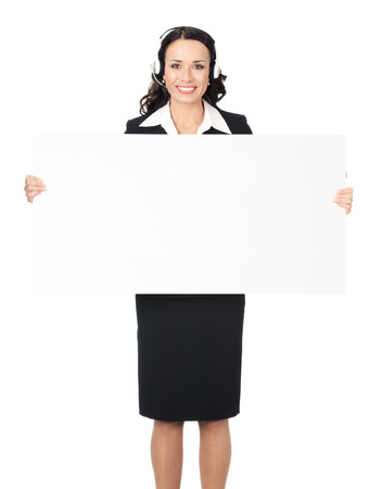 Full body of smiling young business woman showing blank signboard, isolated over white background Banque d'images