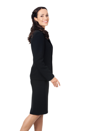 Full body of going businesswoman, isolated over white background