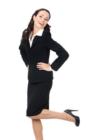 Portrait complet du corps de l'heureuse souriante jeune entreprise en costume noir, isolé sur fond blanc Banque d'images