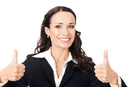 Happy smiling business woman showing thumbs up gesture, isolated over white background Banque d'images
