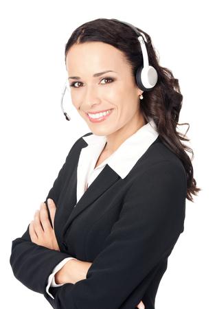 Portrait de joyeux sourire gai jeune belle support opérateur de téléphonie dans l'oreillette, isolé sur fond blanc