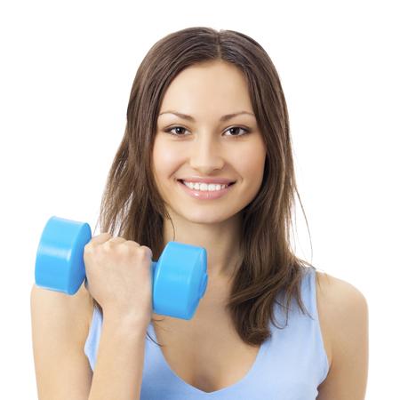 Jeune femme souriante heureuse en vêtements de sport, faire des exercices de remise en forme avec haltère, isolé sur fond blanc Banque d'images