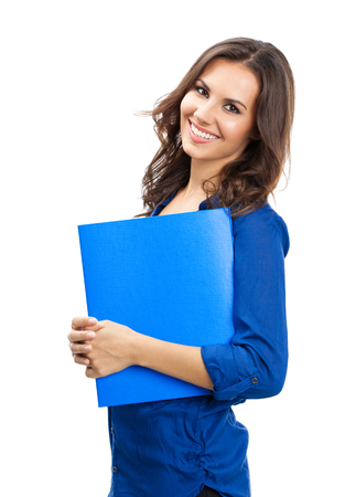 Portrait of young happy smiling business woman with blue folder, isolated over white background