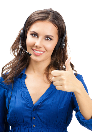 Portrait of happy smiling cheerful young support phone operator showing thumbs up gesture, isolated over white background Banque d'images
