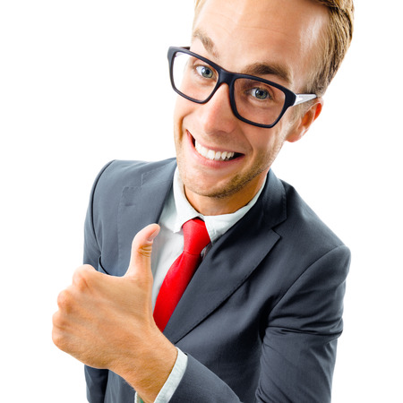 Full body portrait of funny businessman in glasses, black confident suit and red tie, showing thumbs up gesture, top angle view shot, isolated against white background. Business concept.