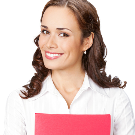 Portrait of young happy smiling businesswoman with red folder, isolated over white background Banque d'images