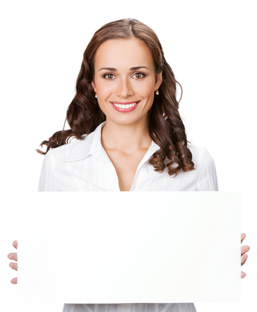 Happy smiling young business woman showing blank signboard, isolated on white background Banque d'images