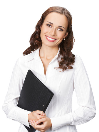 Portrait of happy smiling business woman with black folder, isolated on white background