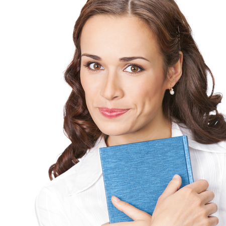 Portrait of happy smiling business woman with notepad or organizer, isolated on white background