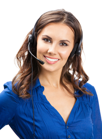 Portrait of happy smiling cheerful young support phone operator in headset, isolated on white background Banque d'images