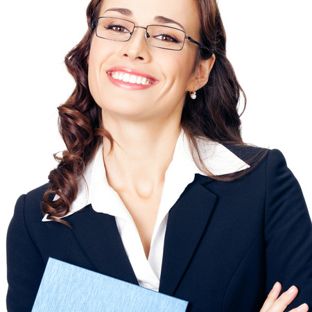Portrait of happy smiling business woman with notepad or organizer, isolated over white background Zdjęcie Seryjne
