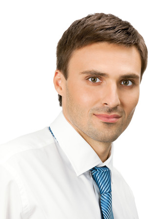 Portrait of young serious business man, isolated over white background