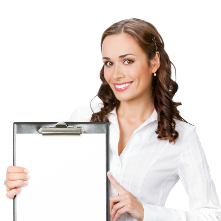 Happy smiling young business woman showing blank clipboard with copyspace for some text, advertising or slogan, isolated against white background Banque d'images - 115400536