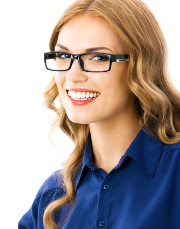 Smiling beautiful young woman in glasses, isolated over white background Banque d'images - 115400541