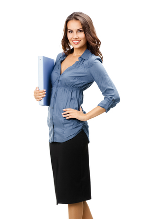 Full body portrait of happy smiling business woman with blue folder, isolated over white background Banque d'images - 115400620