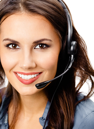 Portrait of happy smiling cheerful beautiful young support phone operator in headset, isolated over white background Banque d'images - 115400624