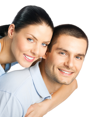 Portrait of young happy smiling attractive couple, isolated over white background Banque d'images - 115400691
