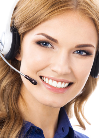 Portrait of happy smiling cheerful beautiful young support phone operator in headset, isolated over white background Banque d'images - 115400698